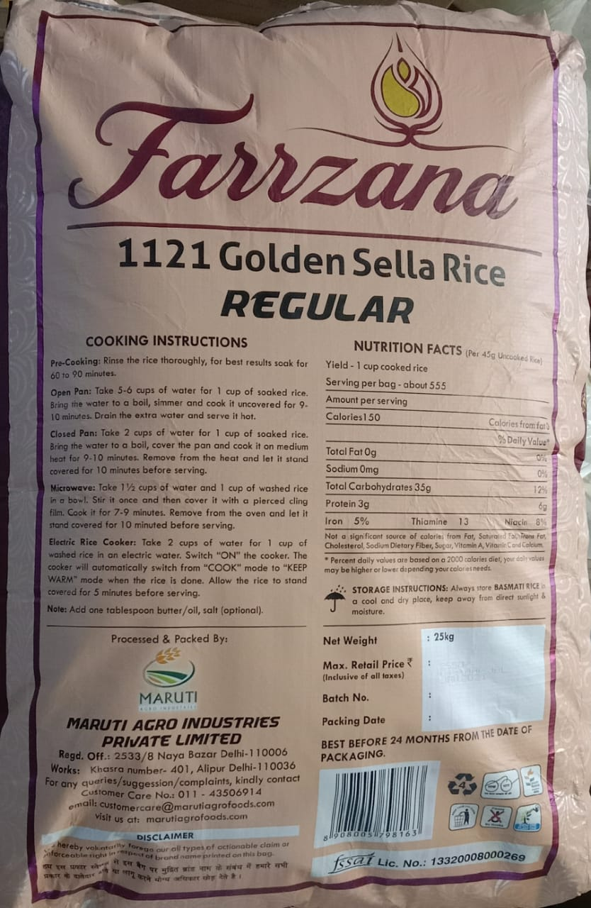 FARRZANA  1121 GOLDEN REGULAR SELLA RICE 25KG MRP 2550/-