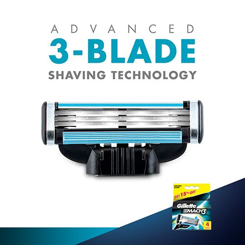 Gillette Mach3 - Manual Shaving Razor Blades Cartridge, 4 pcs
