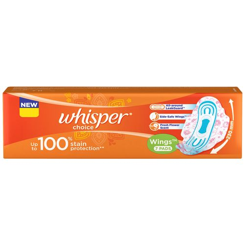 Whisper Sanitary Pads - Choice Wings, 7 Pads