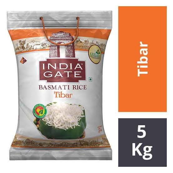 India Gate Basmati Rice Tibar 5kg MRP 605/-