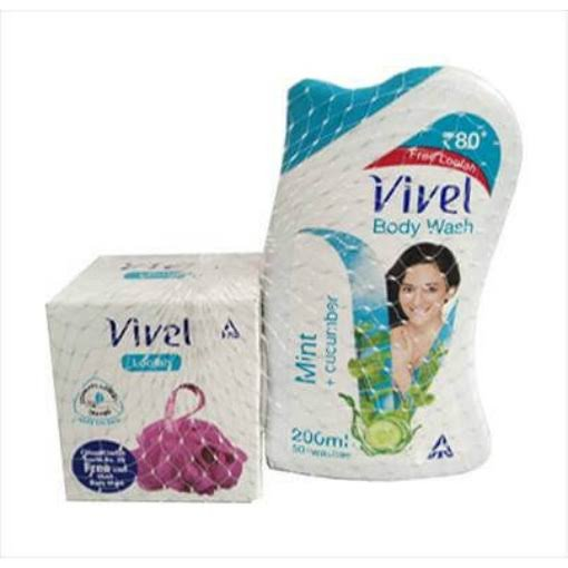 VIVEL BODY WASH MINT + CUCUMBER 200ml  MRP 80/- + FREE LOOFAH