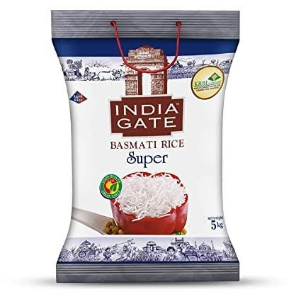 India Gate Basmati Rice Super 5kg +FREE25% EXTRA  MRP 905/-