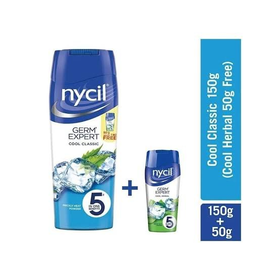 Nycil Powder 150gm MRP 110/- free 50gm