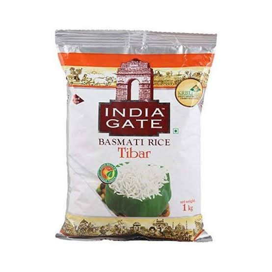 India Gate Basmati Rice Tibar 1kg  MRP 122/-