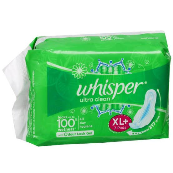 Whisper ultra clean XL 7Pads MRP 80/-