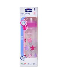 CHICCO NEW BABY MOMENT WELL BEING FEEDING BOTTLE 250ML SIL  PINK FLOWER    MRP 299/-