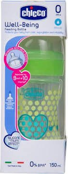 CHICCO NEW BABY MOMENT WELL BEING FEEDING BOTTLE 150ML GREEN HEART   MRP 249/-