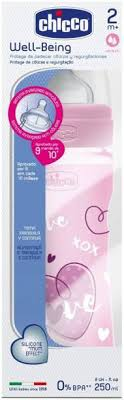 CHICCO NEW BABY MOMENT WELL BEING FEEDING BOTTLE 150ML PINK HEART   MRP 249/-