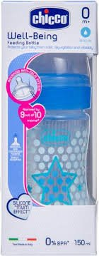 CHICCO NEW BABY MOMENT WELL BEING FEEDING BOTTLE 150ML BLUE  STAR  HEAT   MRP 249/-