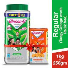 Glucon-D PLAIN JAR 1KG (FREE  GLUCON-D TANGY ORANGE 250G  WORTH 82/- ) MRP 205/-