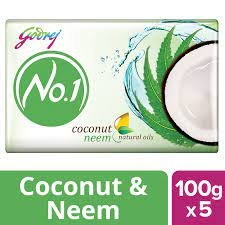 GODREJ NO 1 Neem coconut natural oils   4+1 Free 5 U x 100g= 500g  MRP 84/-