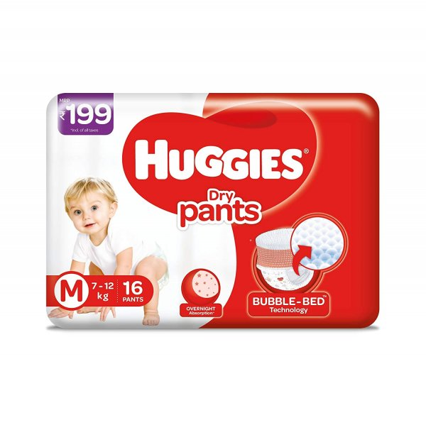 Huggies Dry Pants M-Size 7-12kg 16 Pants  MRP-199/-