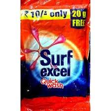 SURF EXCEL QUICK WASH DETERGENT POWDER MRP 10/-(60PCS)