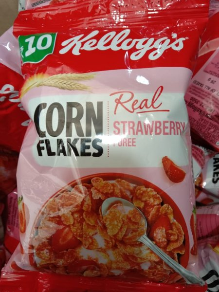 Kellogg's Corn Flakes Real Strawberry Puree 26g MRP-10/- (16 pcs)