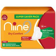 Niine dry comfort regular  super saver pack    Sanitary Napkins  18PADS 230MM MRP 75/-