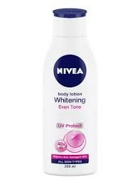 NIVEA BODY LOTION  WHITENING EVEN TONE UP PROTECT ALL SKIN TYPES     75ML MRP 99/-
