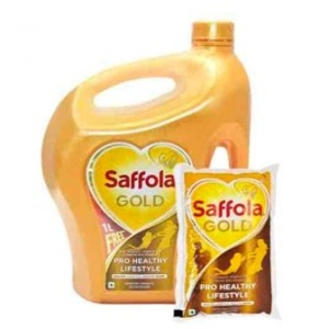 SAFFOLA GOLD 5LTR MRP 825/-(1 POUCH FREE )