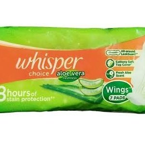 Whisper choice aloe cottony soft Regular 7PDS MRP 25/-